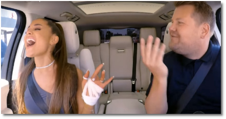 Ariana singing Dangerous Woman with James Corden Carpool Karaoke (15 Aug 2018)