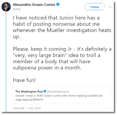 Alexandria Ocasio-Cortez mocks the intelligence of Donald Trump Jr (7 Dec 2018)