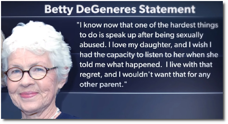 Statement from Ellen's mom Betty DeGeneres about her daughter's sexual abuse from step-dad at age 15 (31 May 2019)