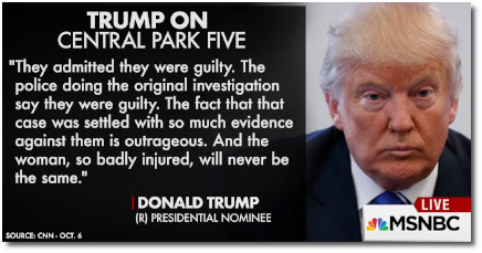 Trump insists that the Central Park Five are still guilty despite being proven innocent (7 Oct 2016)