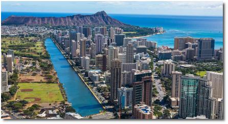 Aerial view of Waikiki, the Ala Wai canal and Diamond Head (Oahu, Hawaii)