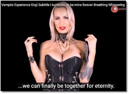Sexy Amy gives you a once-in-a-lifetime experience by turning you into a vampire so you can always be together forever (4 August 2019)