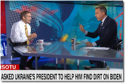 Jake Tapper tells Jim Jordan that he can't believe he's okay with Trump pushing a foreign leader dig up dirt on a political rival (29 Sept 2019)