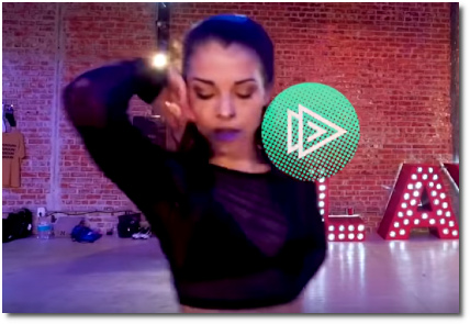 Dancer with Brinn Nicole choreography lifts her right arm with elbow bent at the end of her performance to Ride It by DJ Regard's remix (17 Oct 2019)