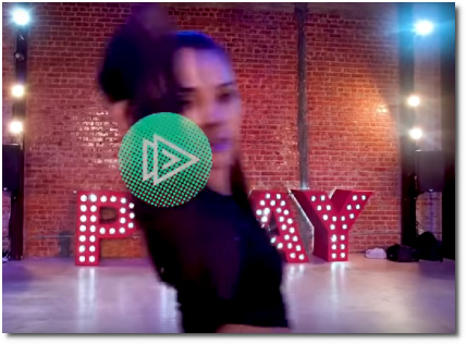 Dancer with Brinn Nicole choreography provocatively raises her right arm all the way up with the elbow bent to the DJ Regard remix of Ride It (17 Oct 2019)