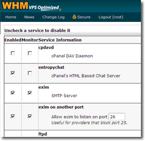 Enable Port 26 for Alternate SMTP in WebHost Manager