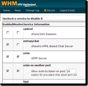 Enable Port 26 for Alternate SMTP in WebHost Manager