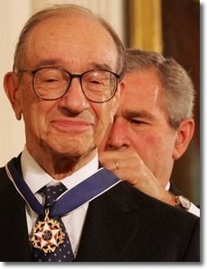 Alan Greenspan awarded the nation's highest honor by George W. Bush