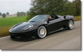 Black Ferrari F30 on road