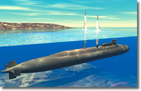 Nuclear-powered submarine launching its ballistic missiles