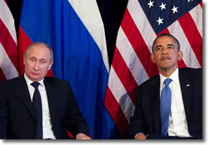 Vladimir Putin and President Obama at G-20 in Mexico 2012
