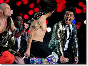 Bruno Mars and Red Hot Chili Peppers perform at 2014 Superbowl at the Meadowlands, NJ on February 2nd