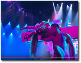 Ariana upside-down on the pommel horse at the 2016 MTV VMAs at MSG in NYC August 28