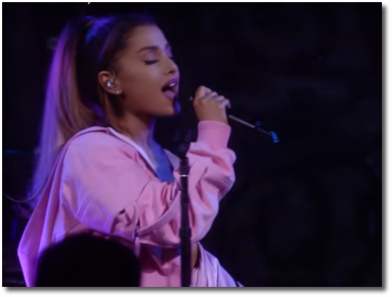 Ariana singing Dangerous Woman in New York City at her Vevo Presents performance May 19, 2016