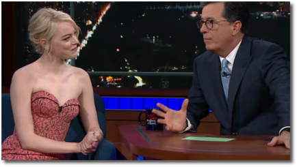 Emma Stone with Stephen Colbert Sept 20, 2017