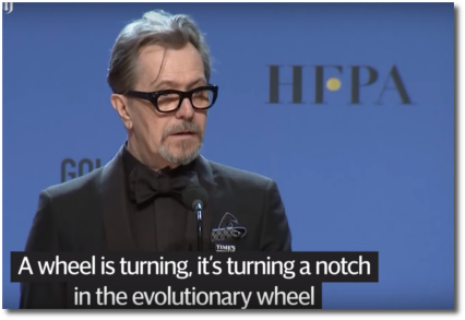 Gary Oldman talks about the evolutionary gears of justice clicking another notch toward eternity