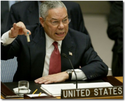 Sec of State Colin Powell arguing at the United Nations that Iraq has WMDs (05 Feb 2003)