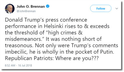 Fmr CIA director John Brennan calls Trump's performance in Helsinki 'nothing short of treasonous'