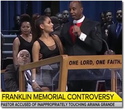 Bishop Charles Ellis groping Ariana's boobie at Aretha's funeral in Detroit (31 Aug 2018)