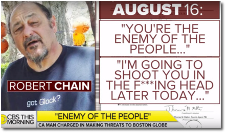 Robert Chain charged with making death threats to the Boston Globe (31 Aug 2018)